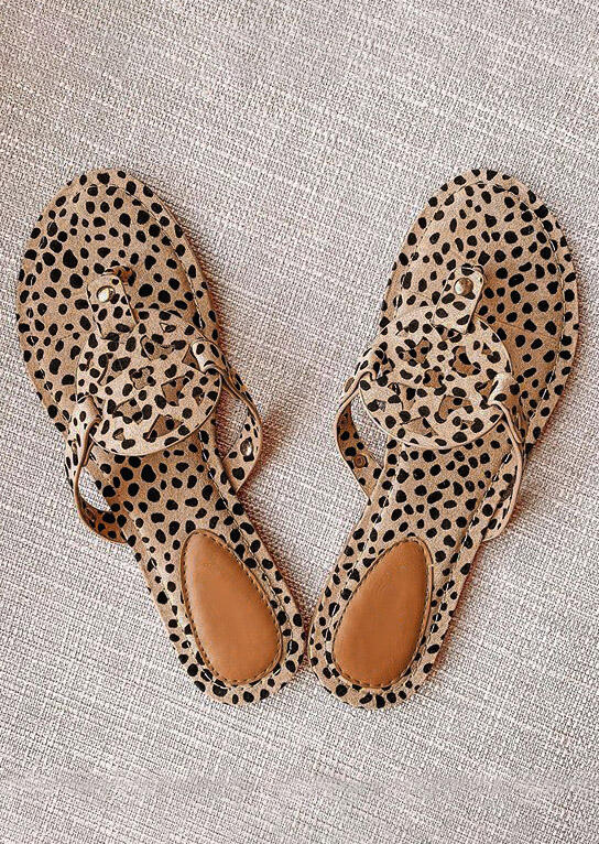 Leopard Printed Hollow Out Beach Flat Sandals