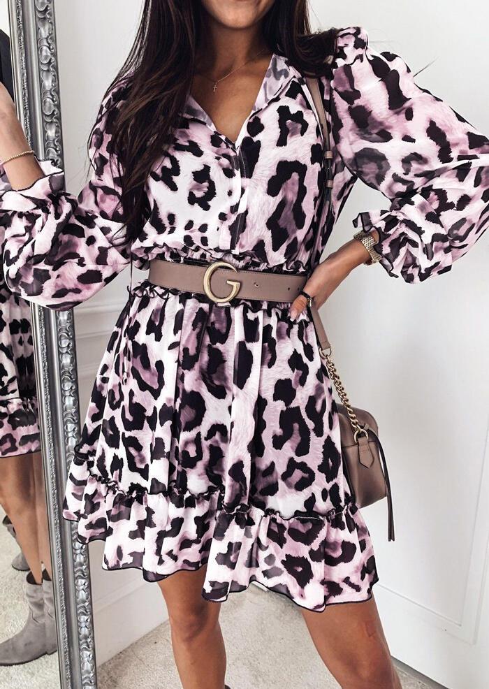 Leopard Printed Ruffled V-Neck Mini Dress without Belt фото