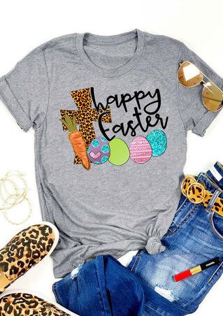 Leopard Printed Cross Happy Easter T-Shirt Tee - Gray