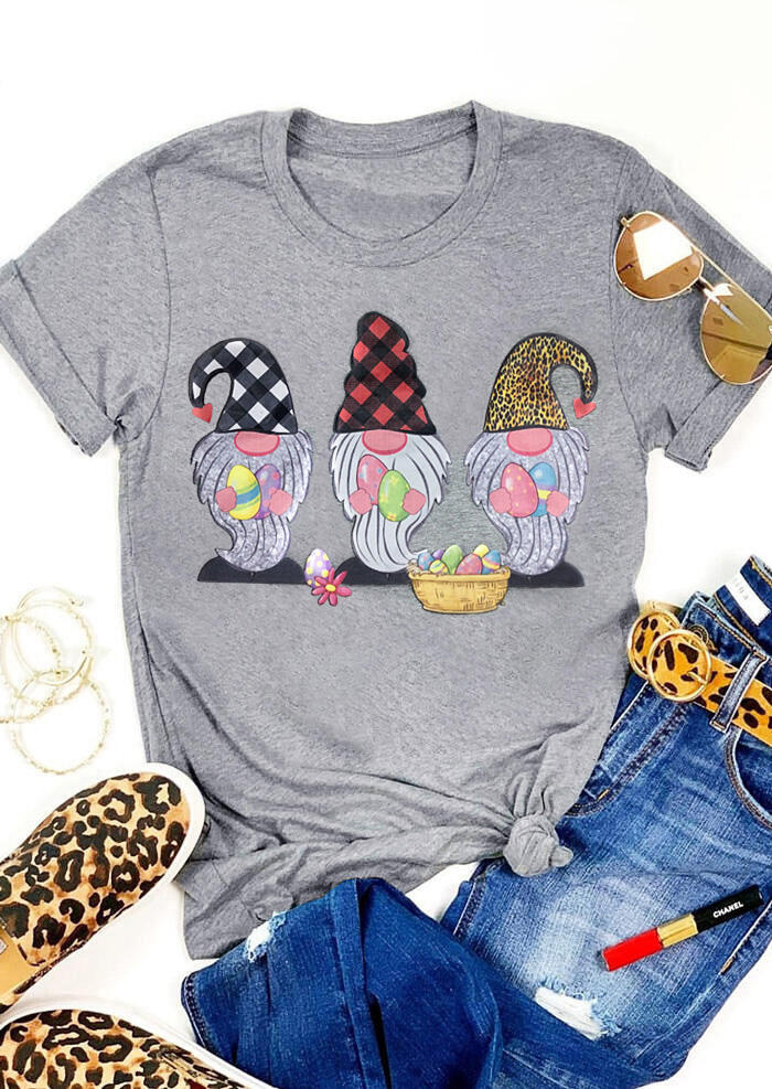 Gnomies Easter Eggs Plaid Leopard Printed T-Shirt Tee - Gray фото