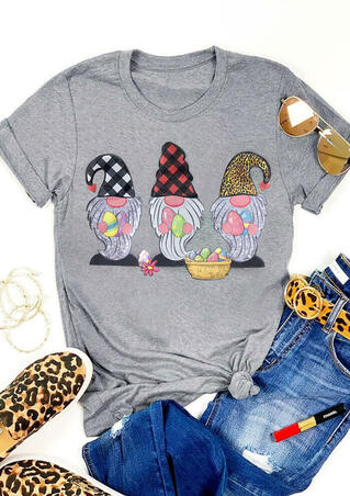 Gnomies Easter Eggs Plaid Leopard Printed T-Shirt Tee - Gray