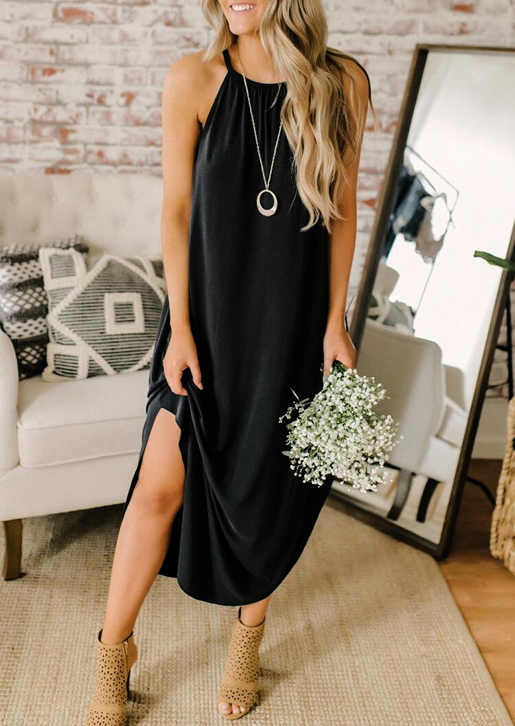 Halter Asymmetric Slit Casual Dress without Necklace - Black фото