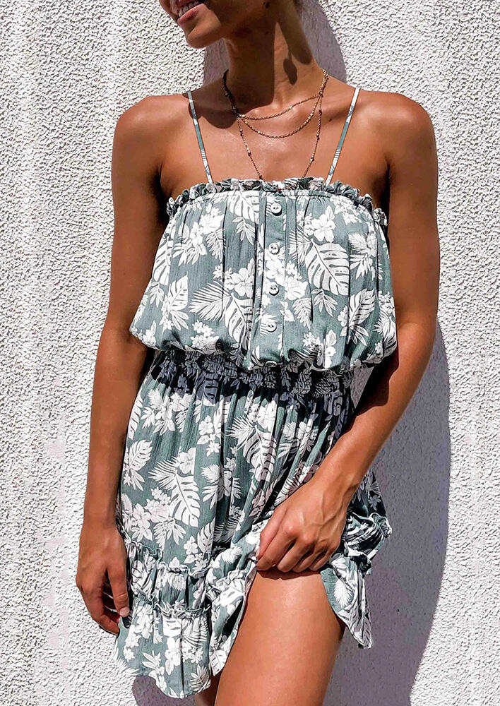 Mini Dresses Leaf Floral Button Ruffled Mini Dress without Necklace - Light Green. Size: S фото