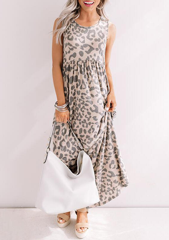 Leopard Ruffled Maxi Dress фото