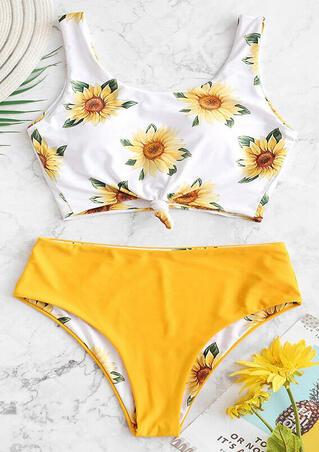 Sunflower Tie Bikini Set - Yellow
