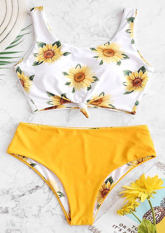 Bikini Sets Sunflower Tie Bikini Set - Yellow. Size: S,M,L,XL фото