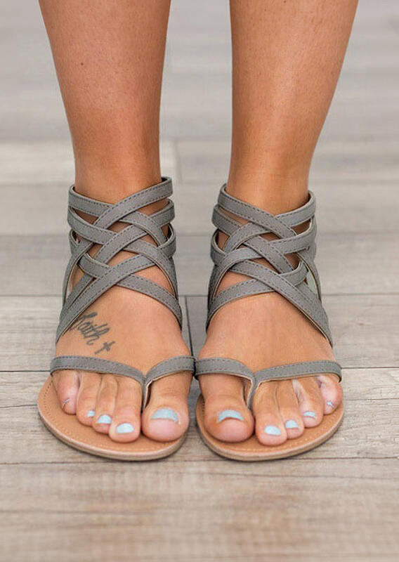 Sandals Summer Cross-Tied Zipper Flat Sandals in Black,Gray. Size: 37,38,39,40,41,42,43 фото