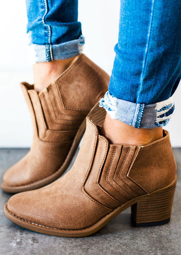 Solid Round Toe Heeled Boots фото