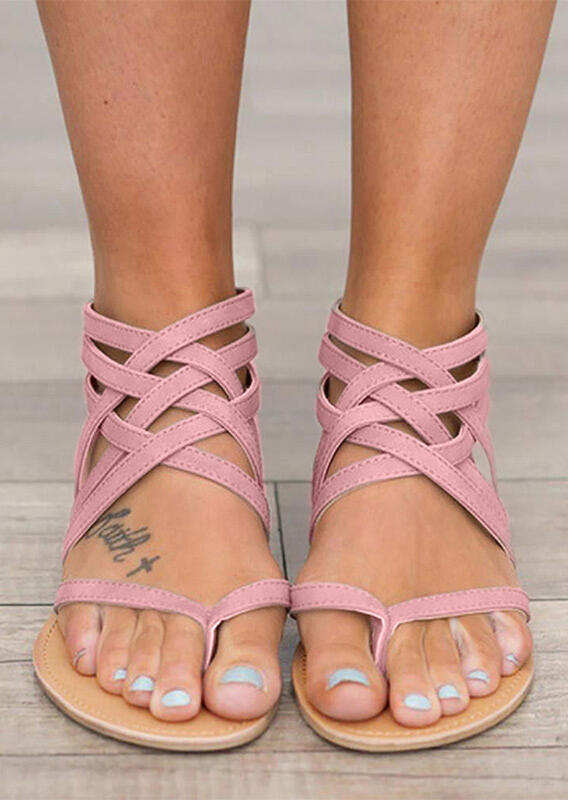 Sandals Summer Cross-Tied Zipper Flat Sandals in Pink. Size: 37,38,39,40,41,42,43 фото