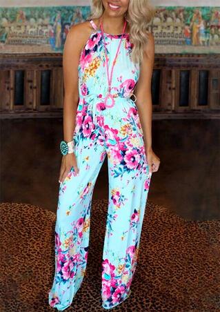 Floral Jumpsuit without Necklace - Light Blue