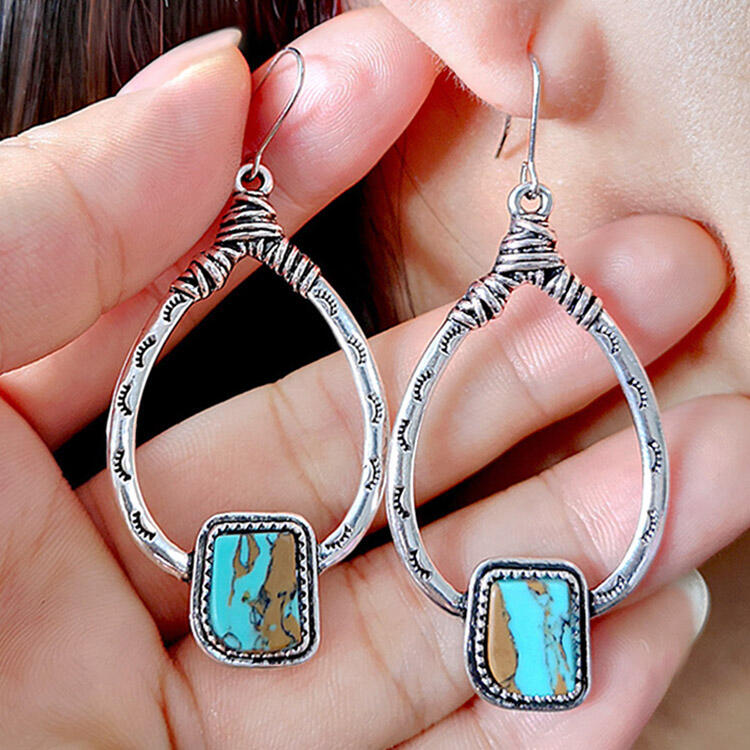 Turquoise Eyelash Carved Alloy Earrings, Silver, 466449