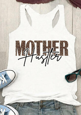 Leopard Printed Mother Hustler Tank - White