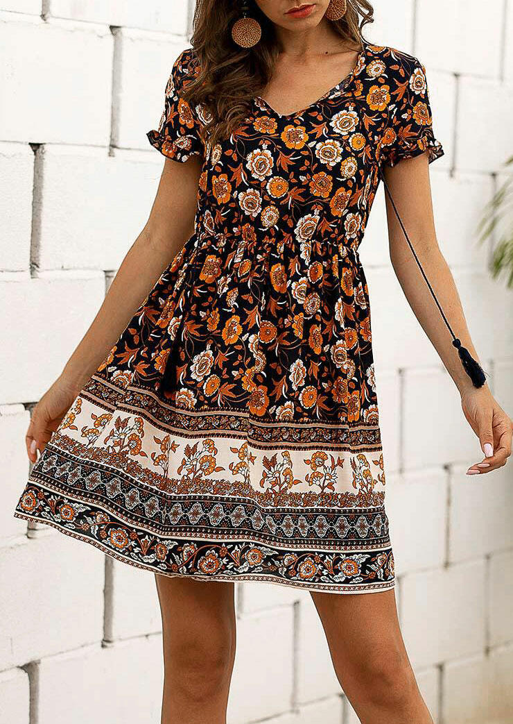 Floral Ruffled Lace Up V-Neck Mini Dress - without Necklace фото
