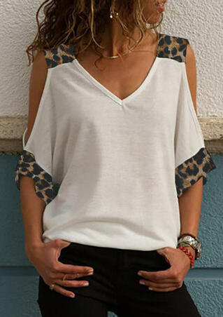 Presale - Leopard Printed Cold Shoulder Blouse without Necklace - White