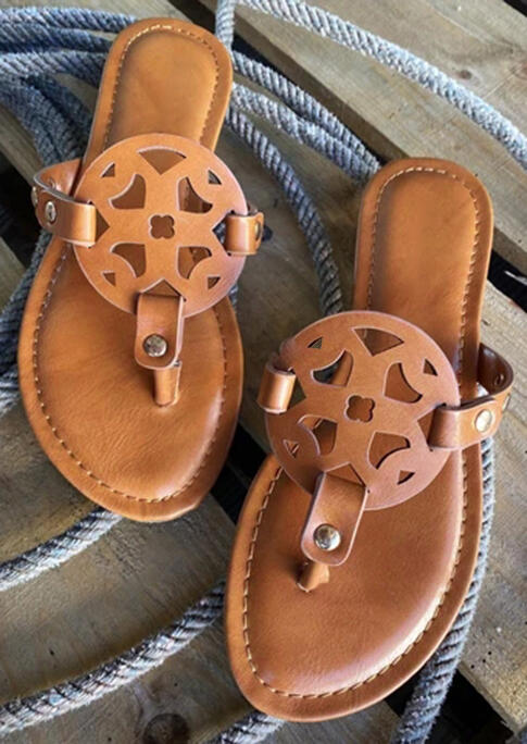 Presale Hollow Out Flat Slippers Light Brown