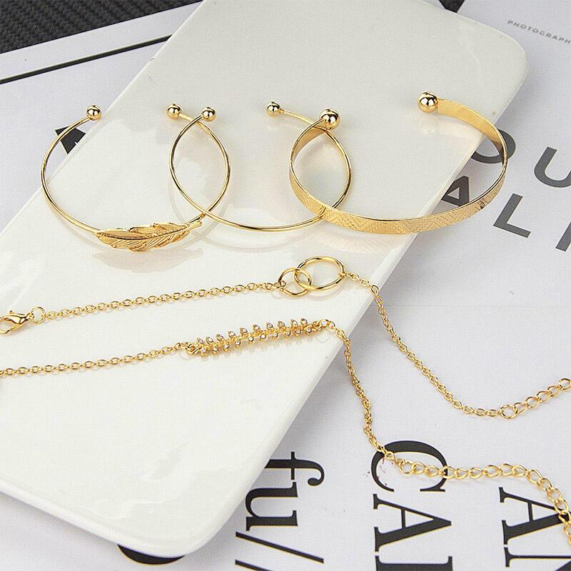 5Pcs Alloy Palm Leaf Bracelet Set