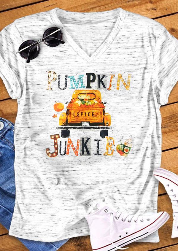 Tees T-shirts Pumpkin Spice Junkie V-Neck T-Shirt Tee in Light Grey. Size: S,M,L,XL фото