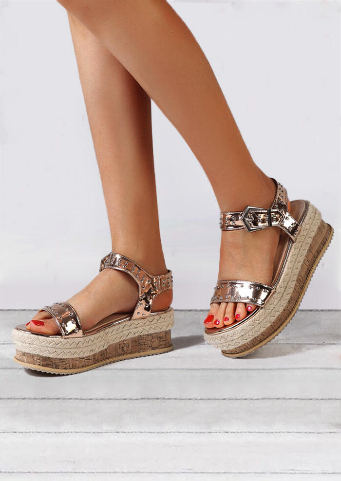Sandals Ankle Strap Buckle Platform Sandals in Gold,Silver,Rose Red. Size: 35,36,37,38,39,40,41,42 фото