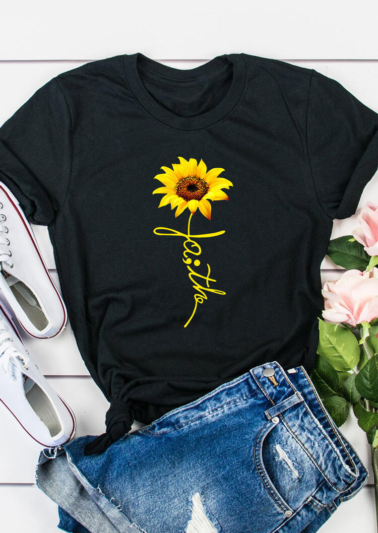 Tees T-shirts Sunflower Faith O-Neck T-Shirt Tee in Black. Size: S,M,L,XL фото