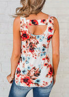 Summer Outfits Floral Hollow Out Tank