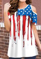 Summer Outfits American Flag Cold Shoulder Blouse