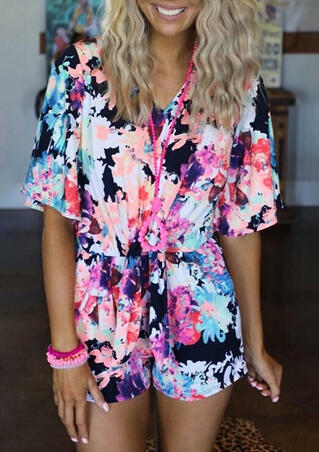 Floral Irregular Romper without Necklace - Multicolor