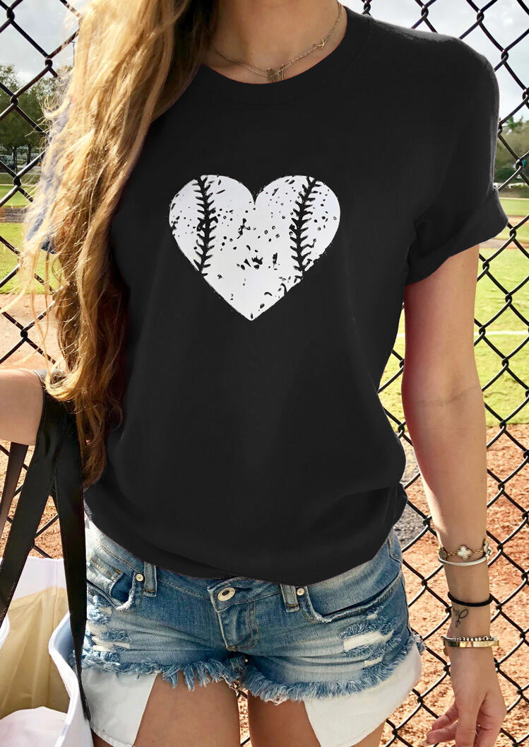 Tees T-shirts Love Heart Baseball T-Shirt Tee without Necklace in Black. Size: S фото