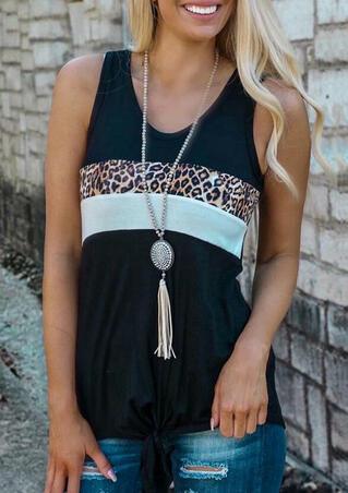 Presale - Leopard Printed Splicing Casual Tank without Necklace - Black