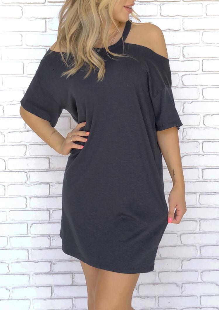 Mini Dresses Cold Shoulder Halter Mini Dress in Dark Grey. Size: S,M,L,XL фото