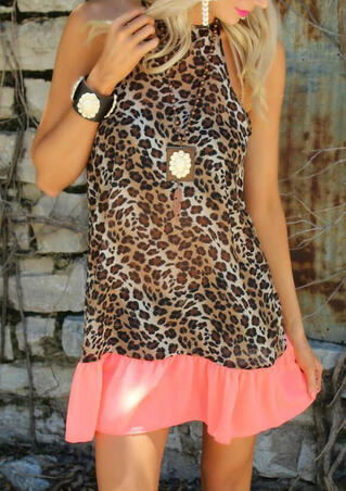 Presale - Leopard Printed Splicing Ruffled Mini Dress without Necklace