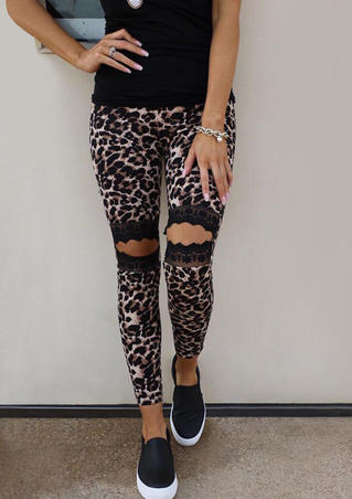 Floral Lace Hollow Out Leopard Skinny Leggings