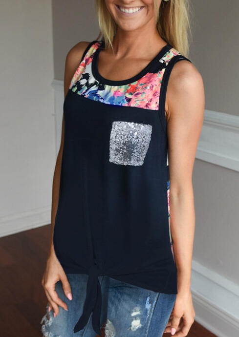 Floral Sequined Splicing Pocket Tie Casual Tank - Navy Blue, 467058