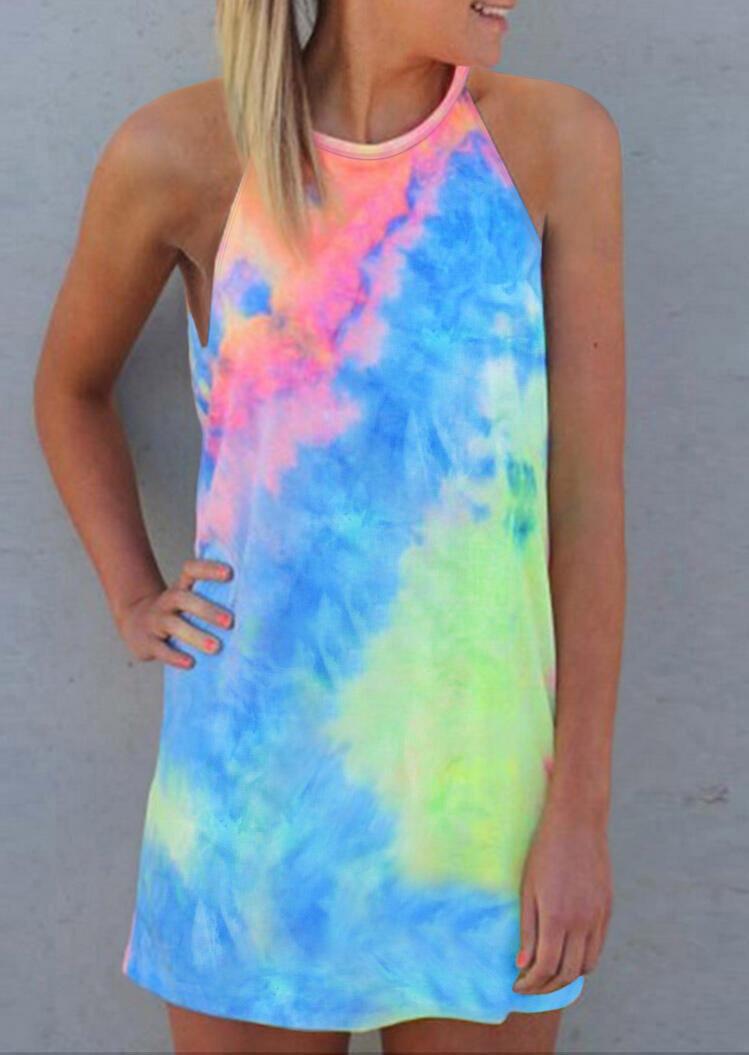 Mini Dresses Tie Dye Sleeveless O-Neck Mini Dress in Multicolor. Size: M,L,XL фото
