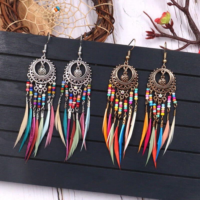 Fairyseason coupon: Bohemian Bead Feather Tassel Earrings