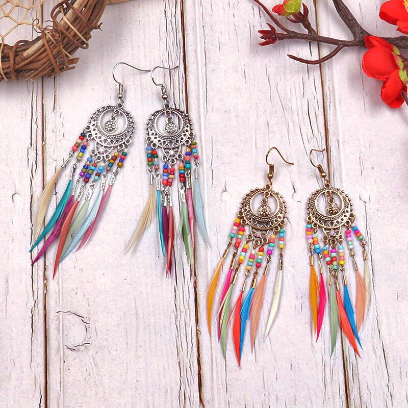 Bohemian Bead Feather Tassel Earrings