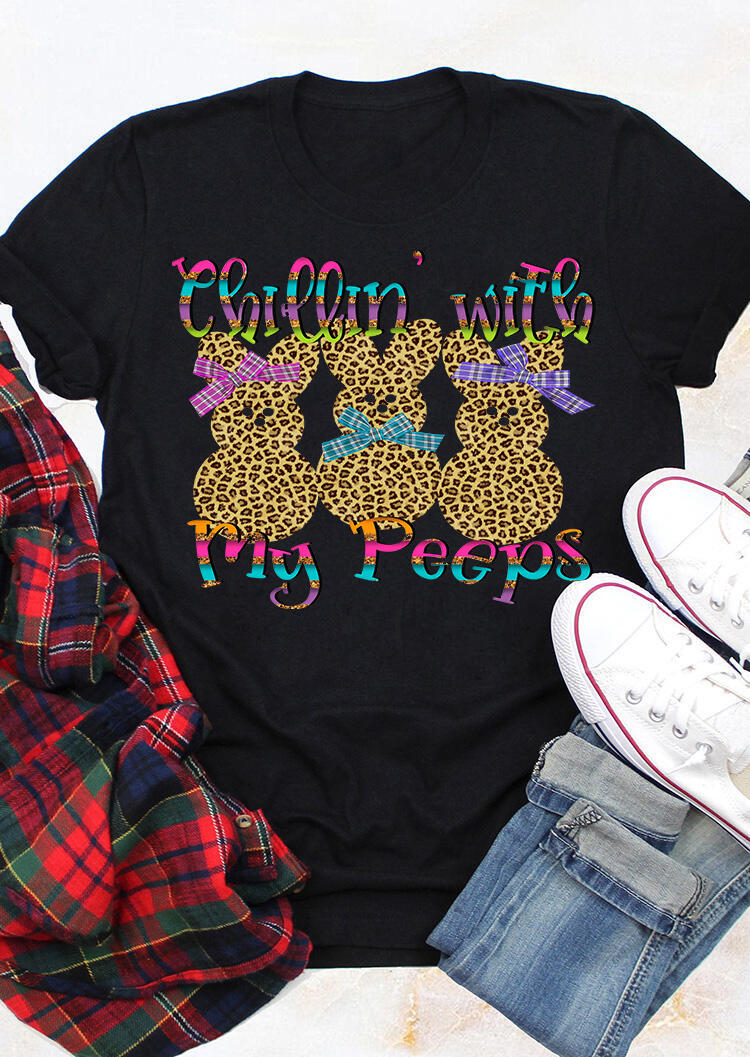 Chillin' With My Peeps Easter Bunnies Leopard Printed T-Shirt Tee - Black фото