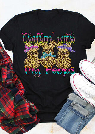 Chillin' With My Peeps Easter Bunnies Leopard Printed T-Shirt Tee - Black