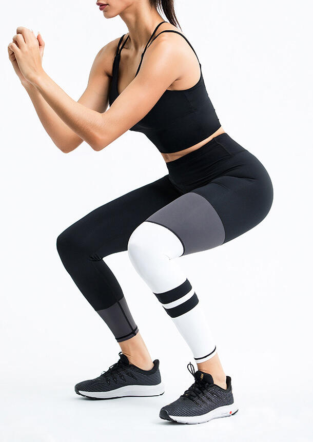 Activewear Color Block Quick-Drying Yoga Fitness Running Workout Activewear Set in Black. Size: M,L фото