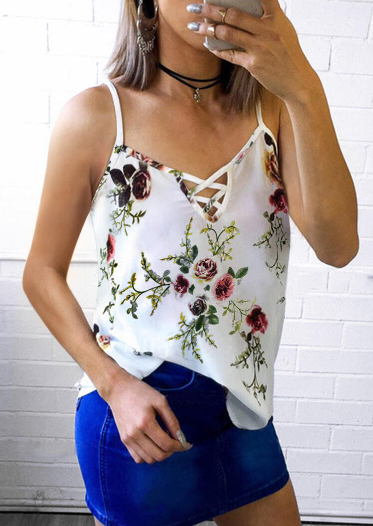 Tank Tops Floral Criss-Cross Camisole without Necklace. Size: S,M,L,XL фото