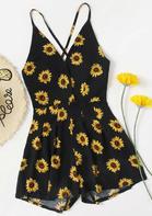 Sunflower Spaghetti Strap Romper - Black