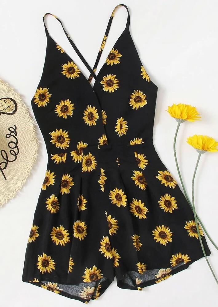 Sunflower Spaghetti Strap Romper - Black фото
