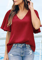 Ruffled Flare Sleeve V-Neck Blouse