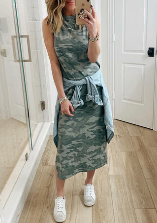 Presale - Camouflage Printed Sleeveless Casual Dress without Necklace