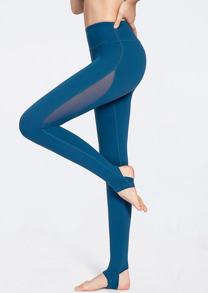 Activewear Mesh Splicing Step On The Feet Yoga Fitness Activewear Leggings - Blue. Size: S,L фото