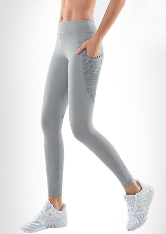Activewear Quick-drying Yoga Fitness Activewear Leggings in Gray. Size: S фото