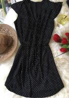 Polka Dot Tie Casual Mini Dress - Black