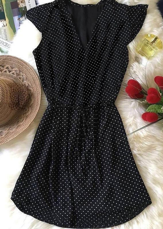 Polka Dot Tie Casual Mini Dress - Black фото