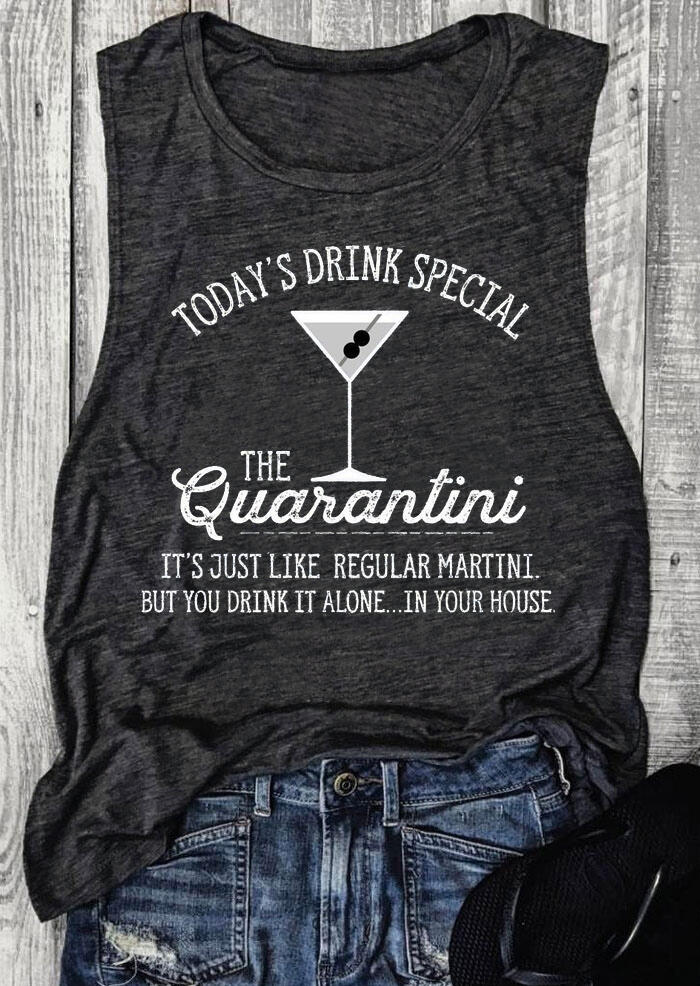 Tank Tops Today's Drink Special The Quarantini Tank in Dark Grey. Size: S фото