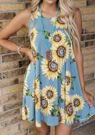 Sunflower Pocket Mini Dress without Necklace - Blue