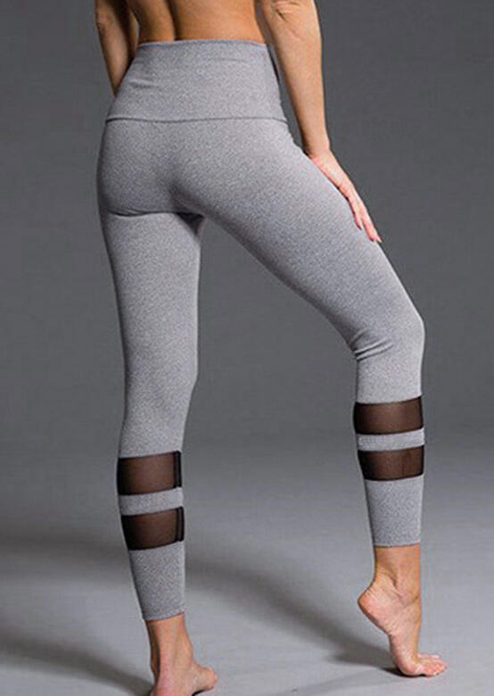 Activewear Mesh Splicing Yoga Fitness Activewear Leggings - Gray. Size: S,M,L фото